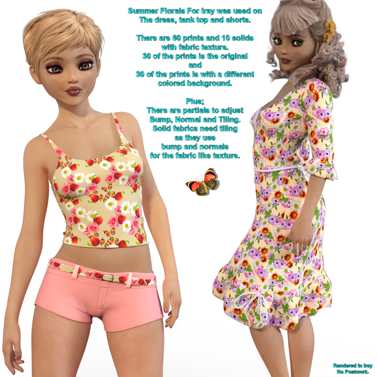 Summer Floral Fabric Shaders For Iray 4.9 - Merchant Resource