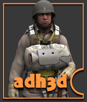 WW2 USA airborne - Extended License 3D Models 3D Figure Essentials Gaming Extended Licenses adh3d