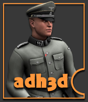 WW2 SS officer - Extended License - gaming - adh3d