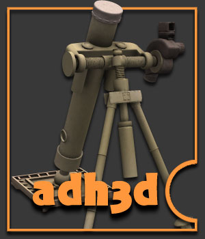 WW2 US mortar - Extended License 3D Models Gaming Extended Licenses adh3d