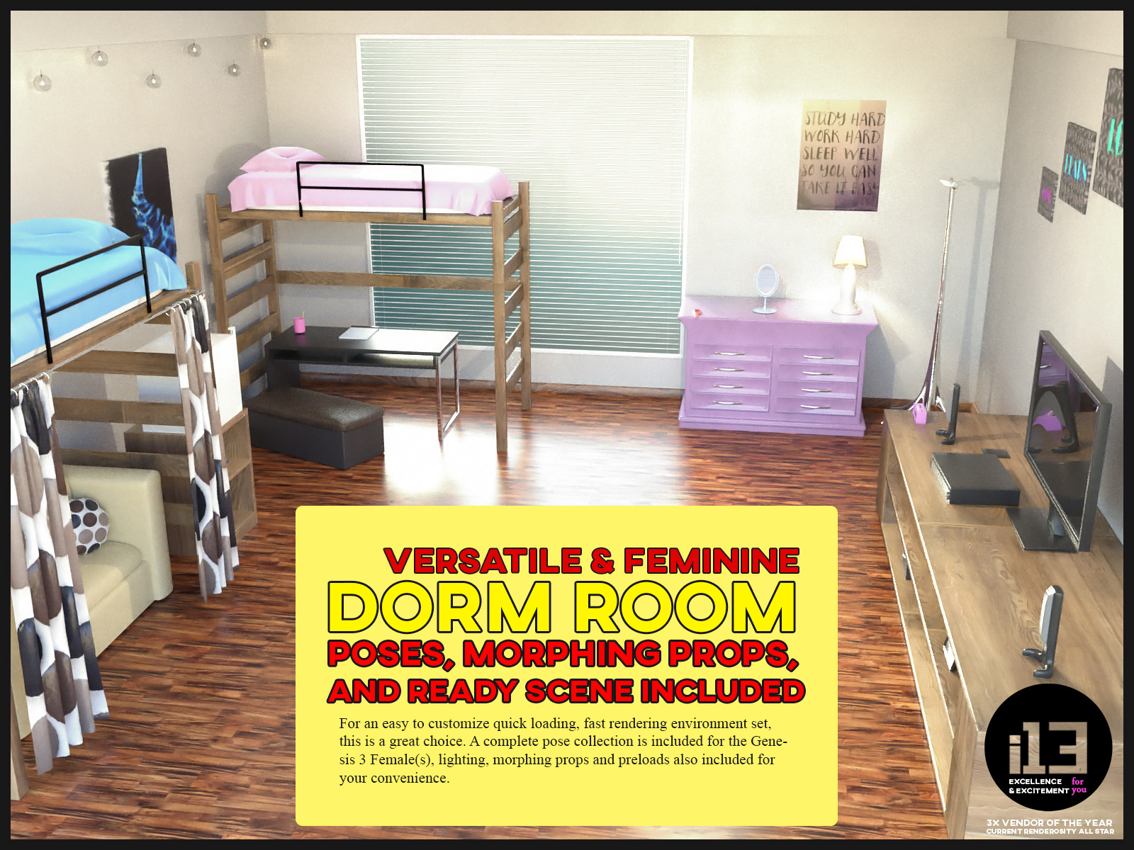 I13 Dorm Room With Poses For The Genesis 3 Female(s)