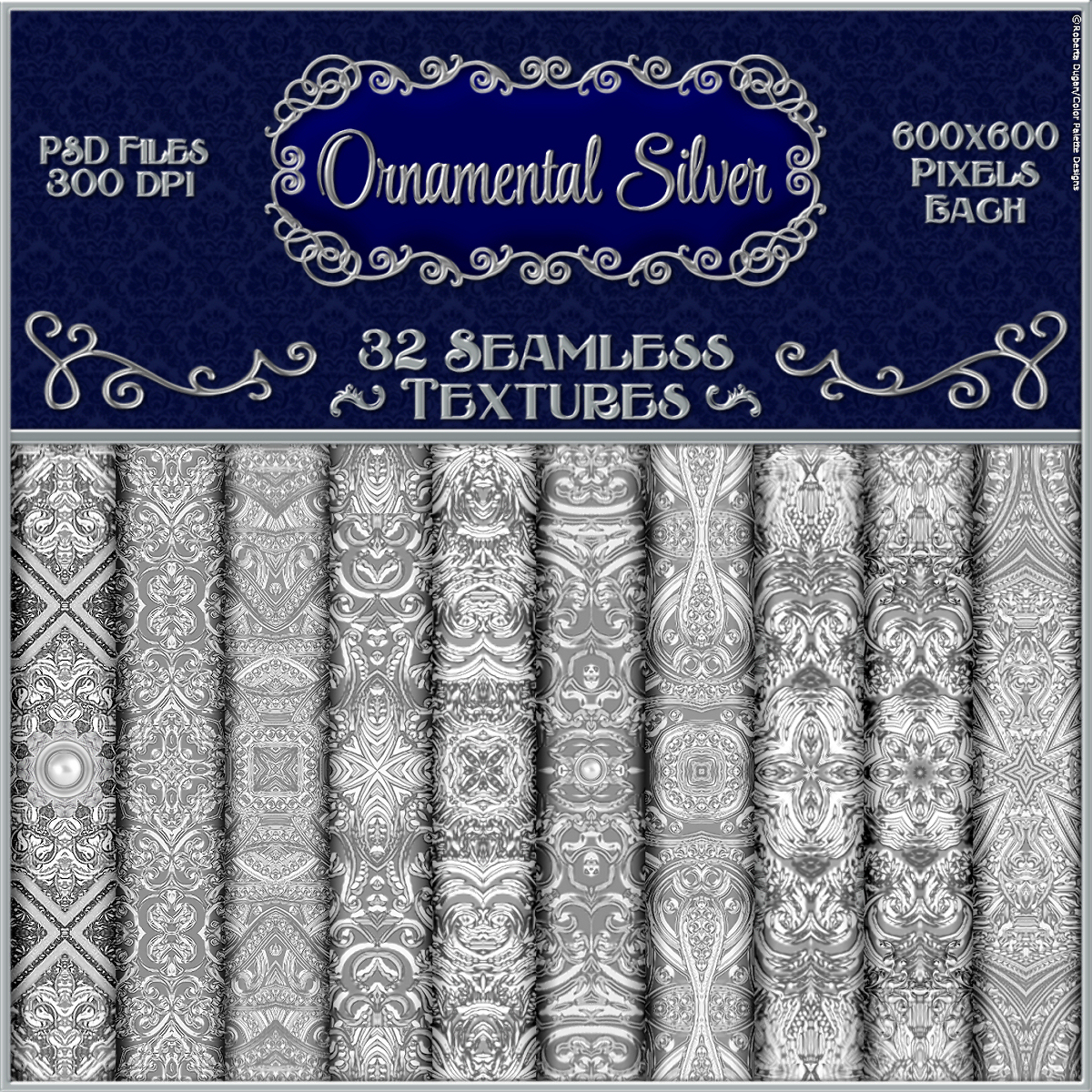 Ornamental Silver Seamless Texture Pack by fractalartist01