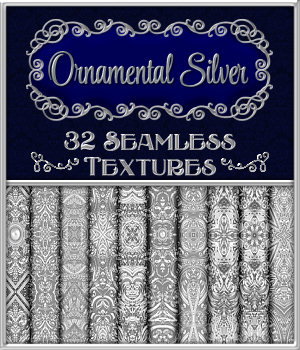 Ornamental Silver Seamless Texture Pack 2D Graphics Merchant Resources fractalartist01