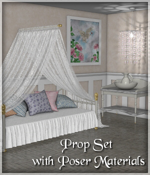 Daybed Prop Set - Poser 3D Models Lully