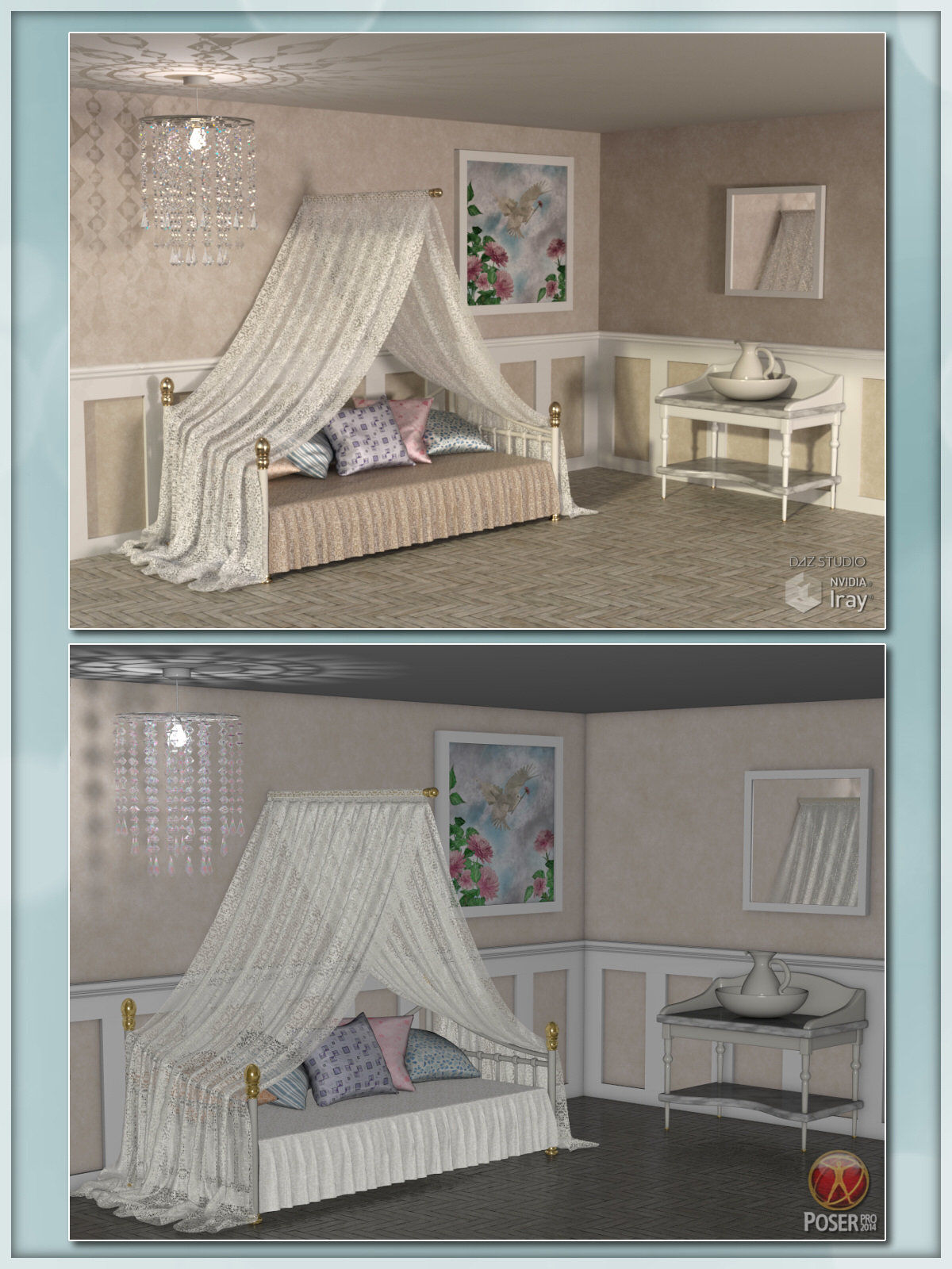 Daybed Prop Set - Poser and Daz Studio Bundle by Lully