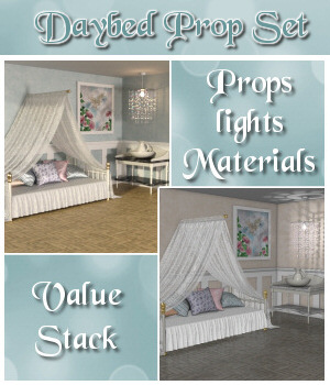 Daybed Prop Set - Poser and Daz Studio Bundle 3D Models Lully