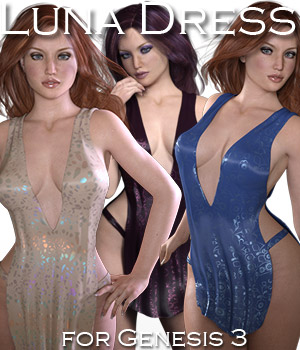 Luna Dress for Genesis 3 Female 3D Figure Assets Rhiannon