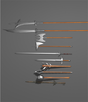 Melee Weapons - 10 models for games 3D Models Game Content - Games and Apps DanteStormdark