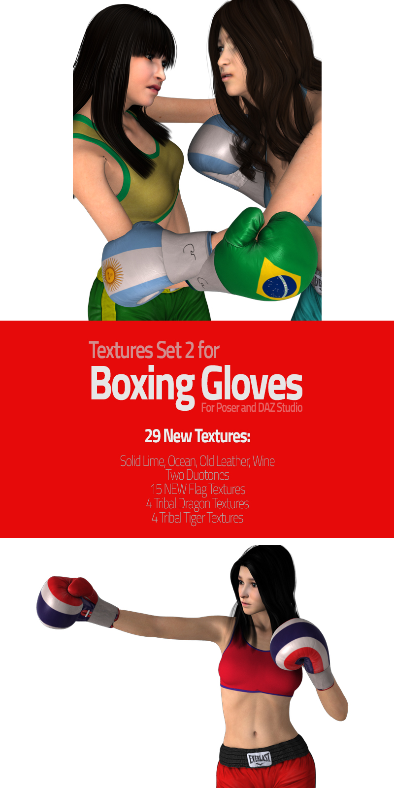 Textures Set 2 for Boxing Gloves - Extended License