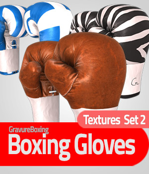 Textures Set 2 for Boxing Gloves - Extended License 3D Figure Assets Extended Licenses gravureboxing