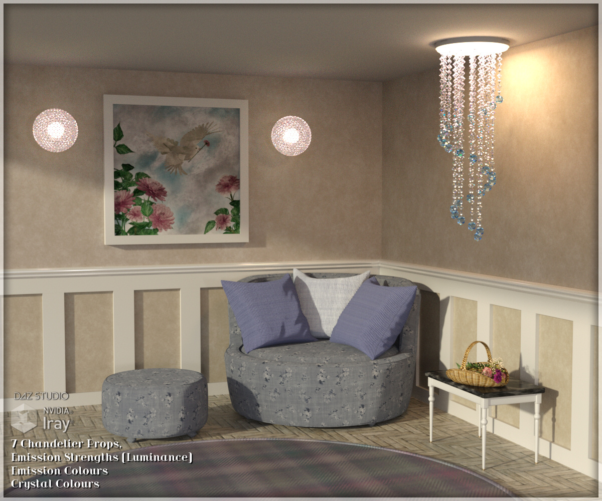 Chandelier Prop Set for DAZ Studio 4.8 and above by Lully
