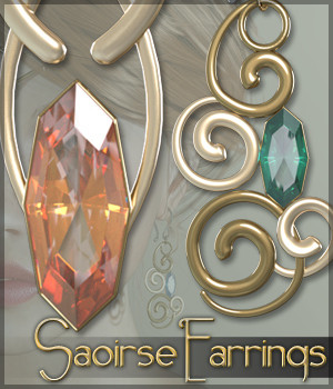 SV's Saoirse Earrings for Genesis 3 Female(s) 3D Figure Assets Sveva