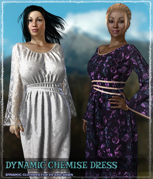 Dynamic Chemise Dress 3D Figure Assets ShaaraMuse3D