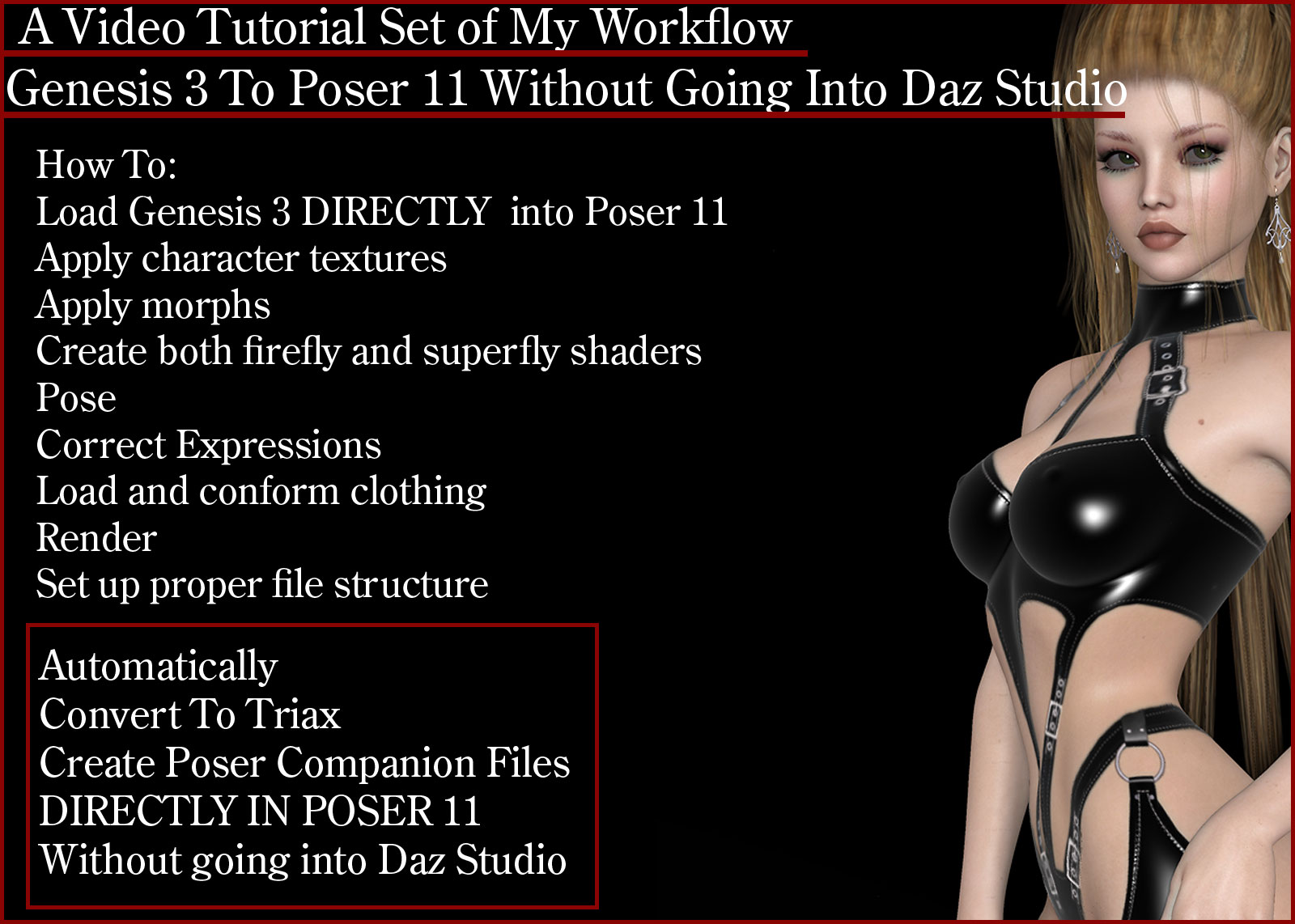 Genesis 3 to Poser 11 without going into Daz Studio