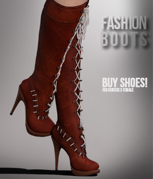 Fashion Boots for G3F 3D Figure Assets xtrart-3d