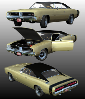 DODGE CHARGER RT 1969 ( Poser and OBJ ) 3D Models Nationale7