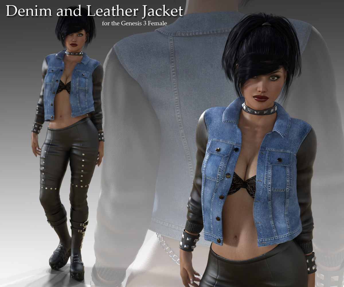 Denim and Leather Jacket for Genesis 3 Female