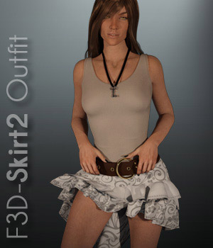F3D-Skirt2 Outfit for G3F 3D Figure Assets Fashionista3D