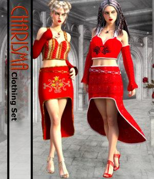 Charisma Clothing Set for G3F 3D Figure Assets chasmata