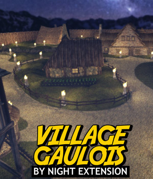 Village Gaulois - By Night Extension - for DS Iray 3D Models powerage