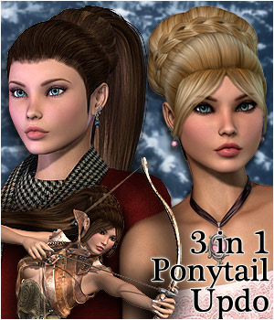 3 in 1 Ponytail Updo Hair - Extended License 3D Figure Assets Extended Licenses RPublishing