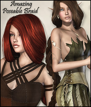Amazing Poseable Braid Hair - Extended License 3D Figure Assets Extended Licenses RPublishing