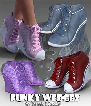 Funky Wedgez for Genesis 3 Female - Extended License 3D Figure Assets Extended Licenses RPublishing