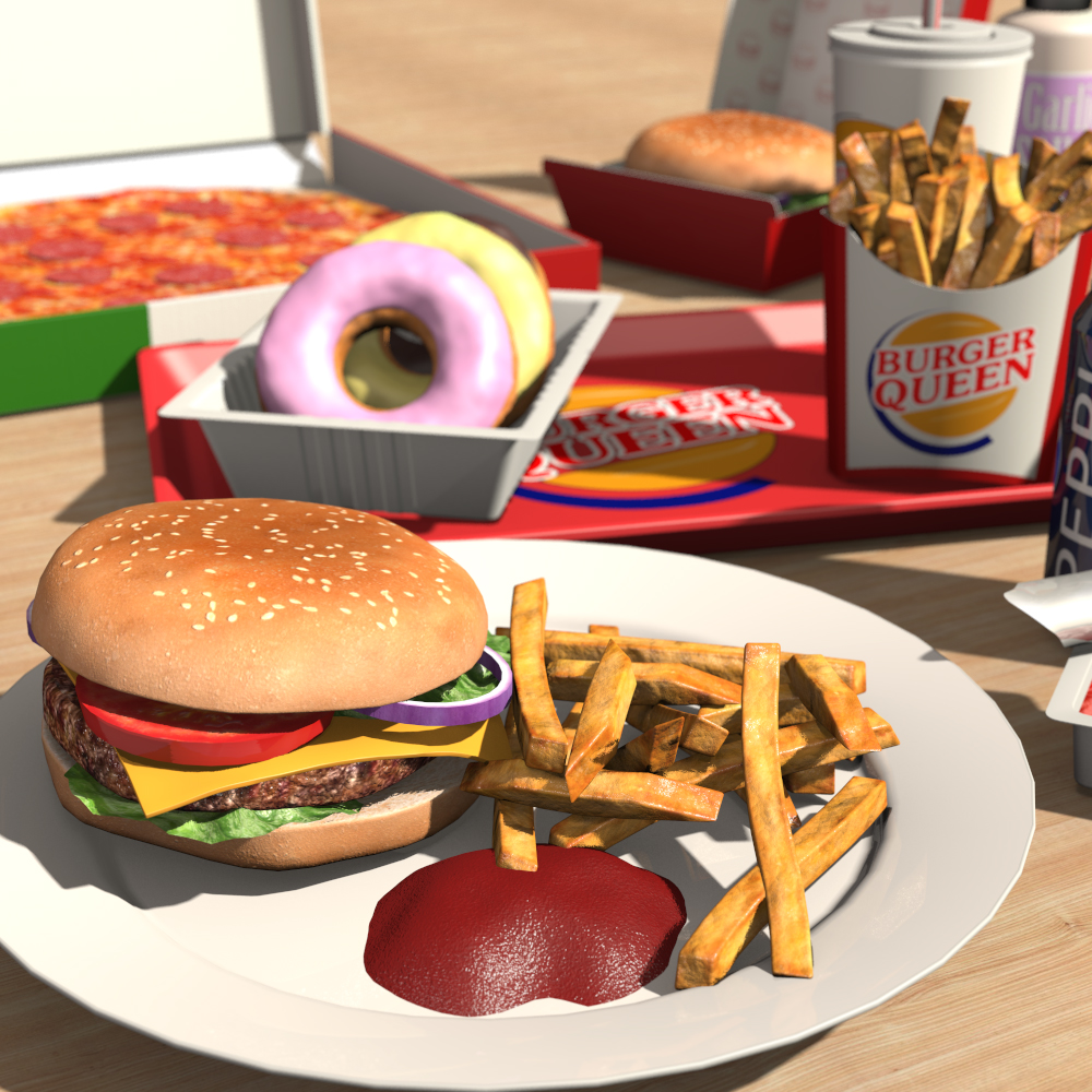 Food: Everyday Items, Fast Food 3D Models 2nd_World