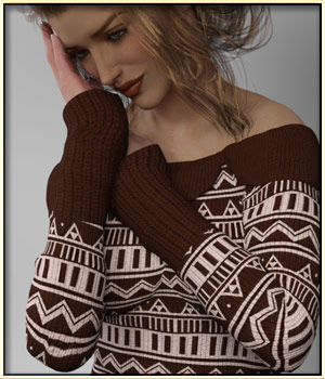 Faxhion - Off Shoulder Sweater 3D Figure Essentials vyktohria