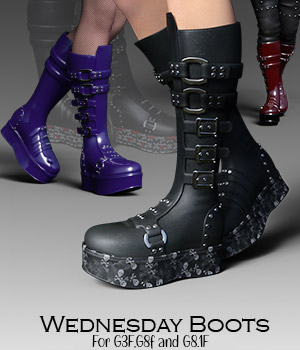 Wednesday Boots for G3F 3D Figure Assets RPublishing