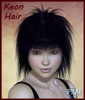 Prae-Keon Hair For Poser 3D Figure Assets prae