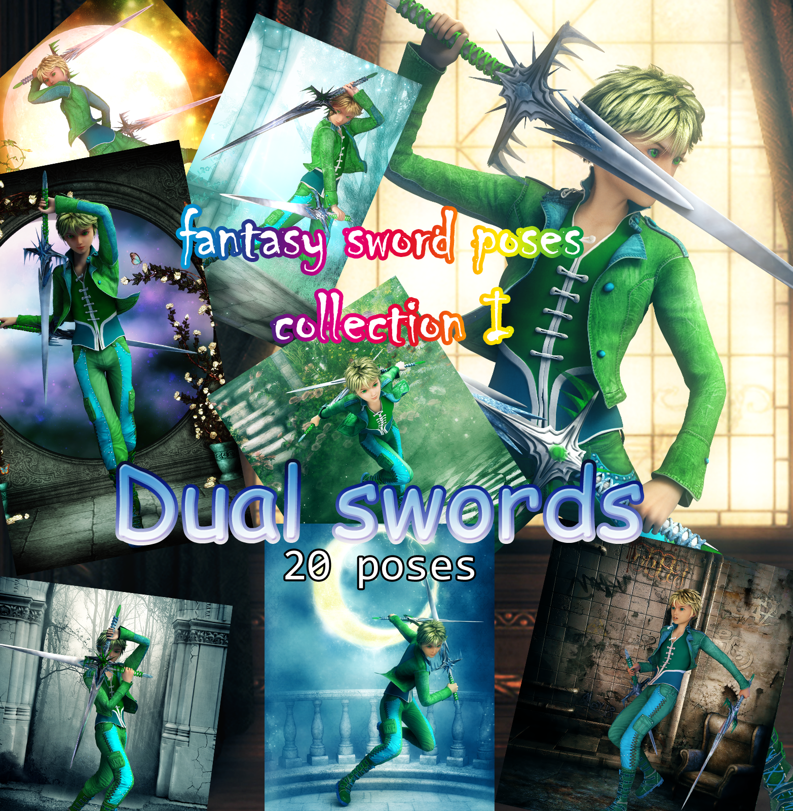 Fantasy Anime Poses I _ Dual swords_ for G2)