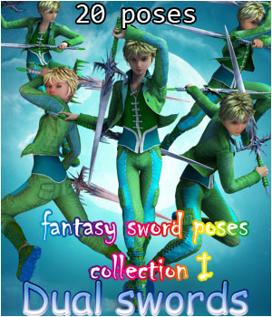 fantasy sword poses collection I _ Dual swords_ for G2 3D Figure Assets muwawya