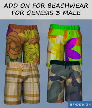 Add On for Beachwear for Genesis 3 Males 3D Figure Assets SF-Design