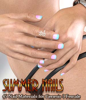Summer Nails for G3F Merchant Resource Merchant Resources 3D Figure Assets Calico