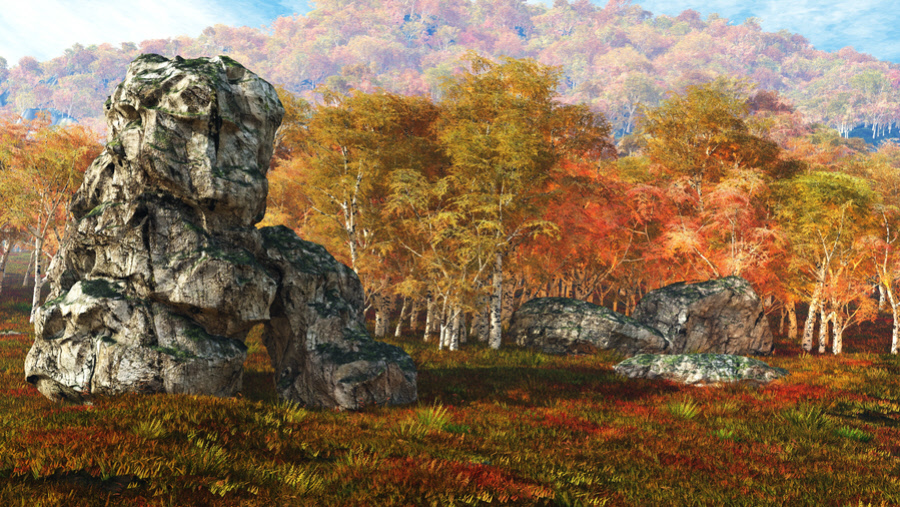 Matte Paintings Autumn and Winter Backgrounds