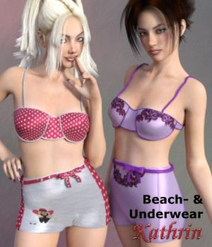 Beach- & Underwear Kathrin for G3F 3D Figure Essentials chasmata