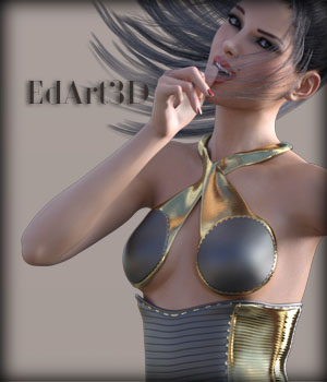 Leather Corset Dress for G3F SciFi Textures 3D Figure Essentials EdArt3D