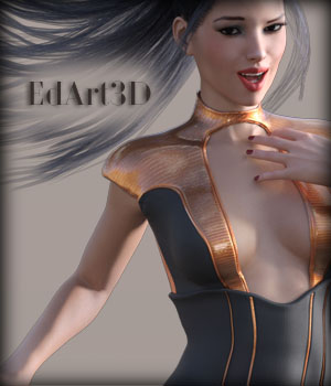 Leather Corset Dress 2 for G3F SciFi Textures 3D Figure Assets EdArt3D