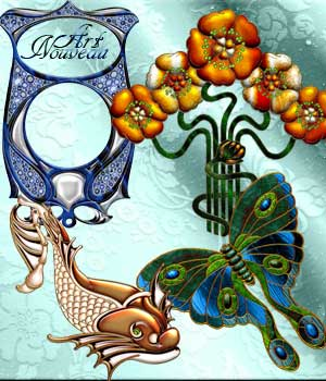 Harvest Moons Art Nouveau 2D Graphics Merchant Resources MOONWOLFII