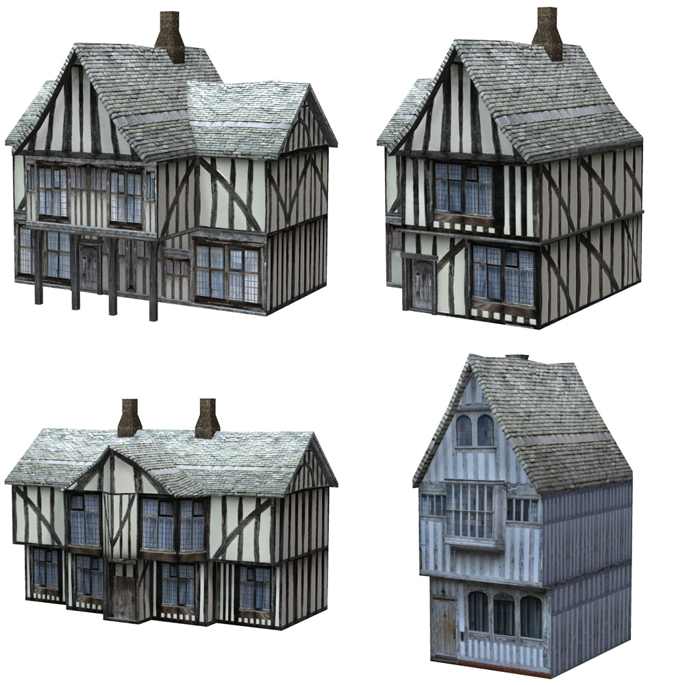 Low Polygon Medieval Buildings 3 (for DAZ Studio) by VanishingPoint