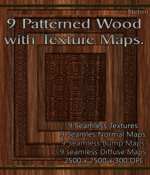 9 Seamless Patterned Wood Textures with Texture Maps 2D Graphics nelmi