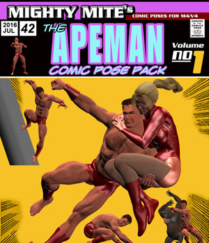The Apeman v01 : By MightyMite for M4/V4/Big Cat/Gorilla/Rhino 3D Figure Assets MightyMite