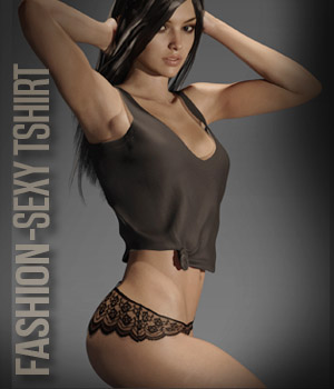 Fashion SexyTshirt for G3F 3D Figure Assets xtrart-3d