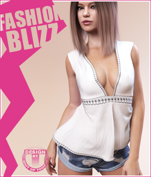 Fashion Blizz: Flowy Sheer Top for Genesis 3 Female(s) 3D Figure Essentials outoftouch
