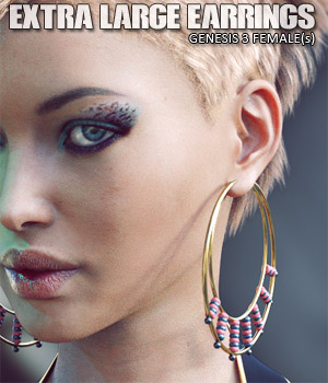 Extra Large Earrings for Genesis 3 Female(s) 3D Figure Essentials lilflame