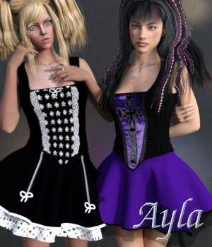 Ayla Dress & Jewels for G3F 3D Figure Assets chasmata