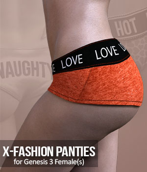 X-Fashion Panties  for G3F 3D Figure Assets xtrart-3d