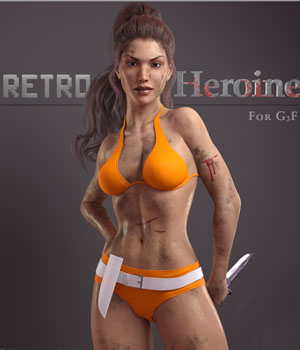 Retro Heroine for G3F 3D Figure Assets Fredel