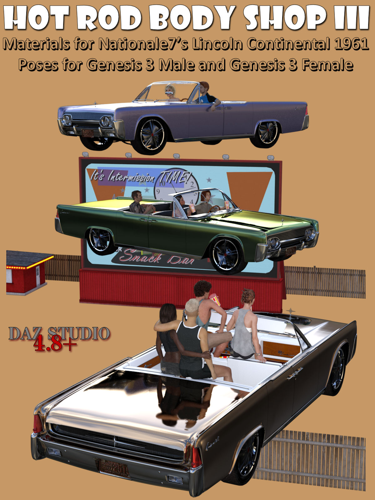 Hot Rod Body Shop Series 3 for Nationale7 Lincoln Continental 1961, G3M and G3F